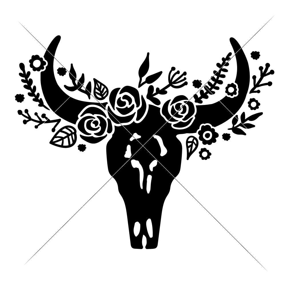 Cow Skull Bull Head With Flowers Svg Png Dxf Eps