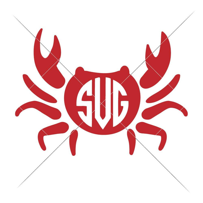 Crab For Monogram Svg Png Dxf Eps Svg Dxf Png Cutting File