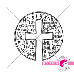 Cross Sketch with words circle svg png dxf eps jpeg SVG DXF PNG Cutting File