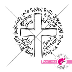 Cross Sketch with words round svg png dxf eps jpeg SVG DXF PNG Cutting File
