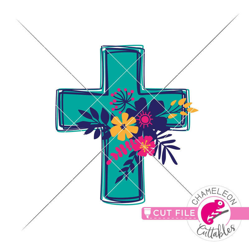 Cross with Flowers layered svg png dxf eps jpeg SVG DXF PNG Cutting File