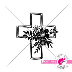 Cross with Flowers svg png dxf eps jpeg SVG DXF PNG Cutting File
