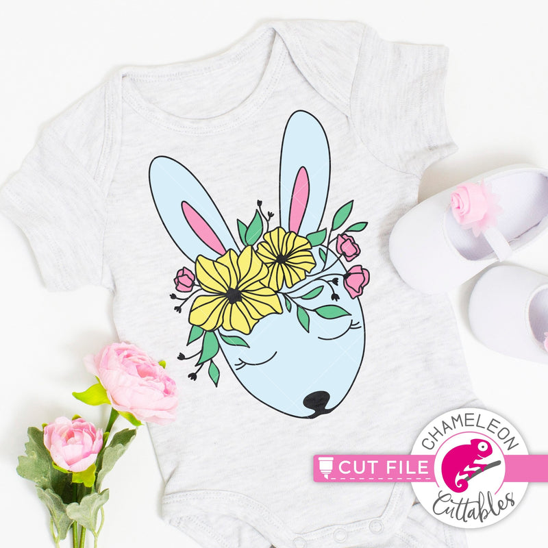 Cute Easter Bunny with Spring flowers layered svg png dxf eps jpeg SVG DXF PNG Cutting File