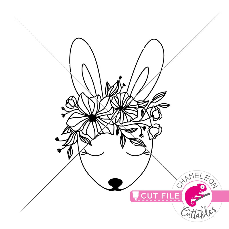 Cute Easter Bunny with Spring flowers svg png dxf eps jpeg SVG DXF PNG Cutting File