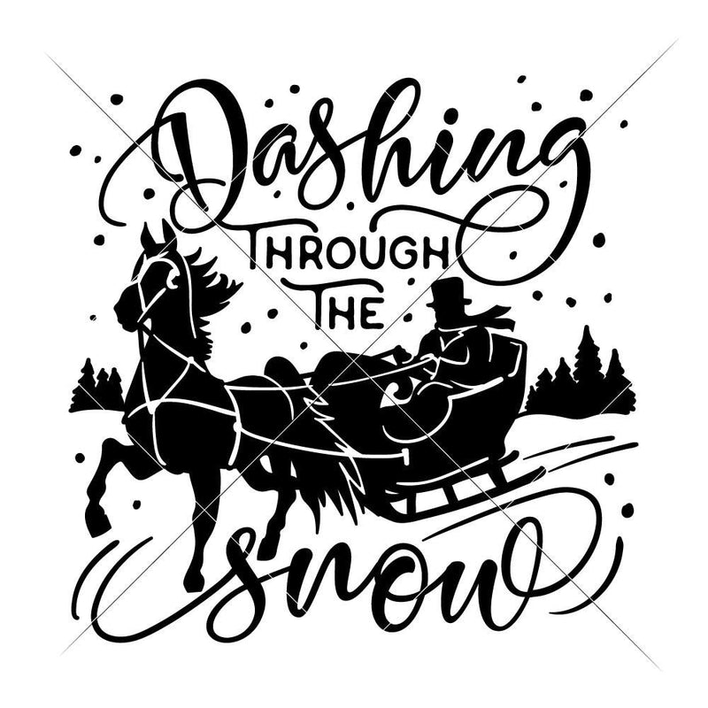 Dashing Through The Snow With Horse Sleigh Svg Png Dxf Eps Svg Dxf Png Cutting File