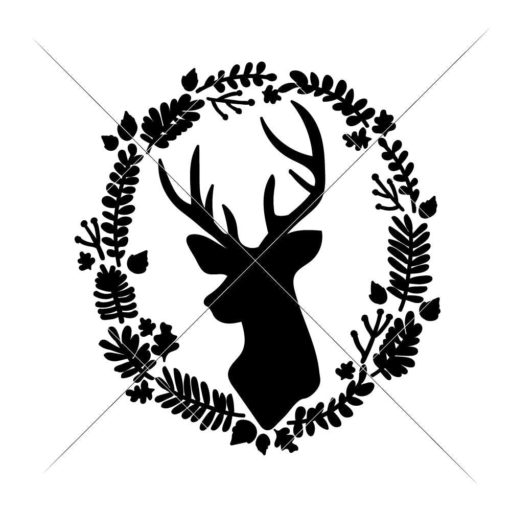 Christmas Wreath Silhouette.Deer With Christmas Wreath Svg Png Dxf Eps
