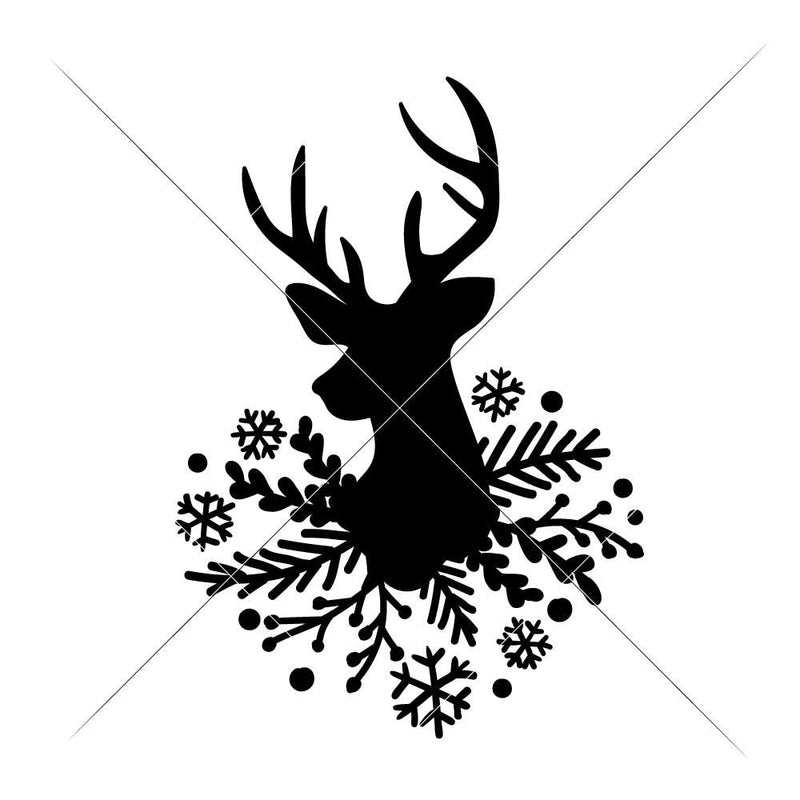 Deer With Fir And Snowflakes Svg Png Dxf Eps Svg Dxf Png Cutting File