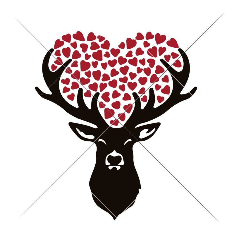 Deer With Hearts Svg Png Dxf Eps Svg Dxf Png Cutting File