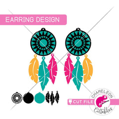 Dreamcatcher Earring Template svg png dxf eps SVG DXF PNG Cutting File
