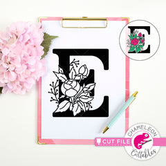 E Floral Monogram Letter with Flowers svg png dxf eps jpeg SVG DXF PNG Cutting File