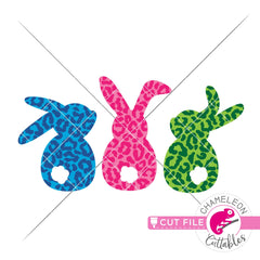 Easter bunnies with cheetah pattern svg png dxf eps jpeg SVG DXF PNG Cutting File