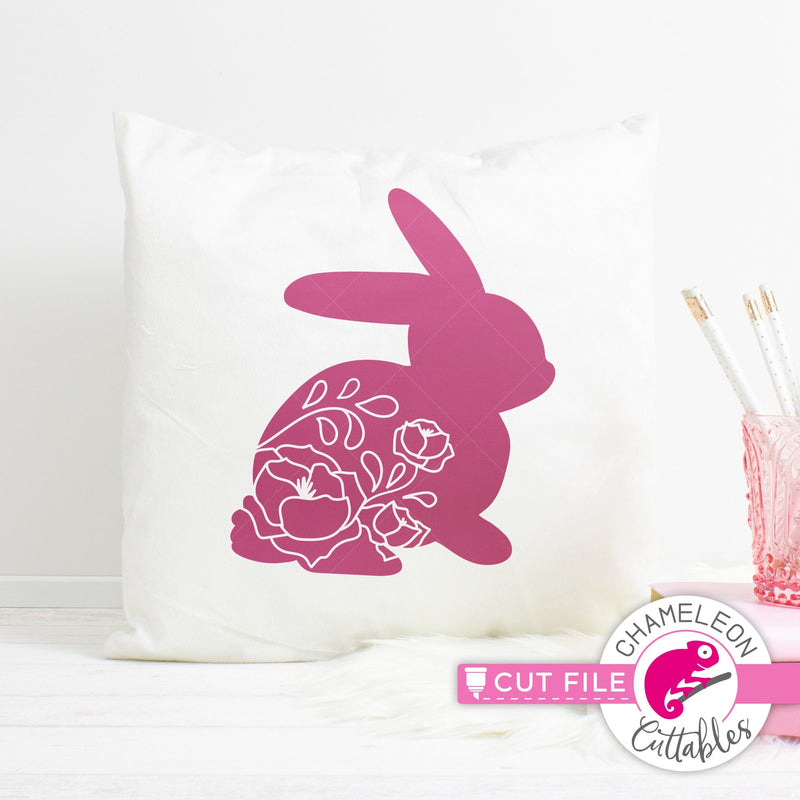 Easter bunnies with floral pattern svg png dxf eps jpeg SVG DXF PNG Cutting File
