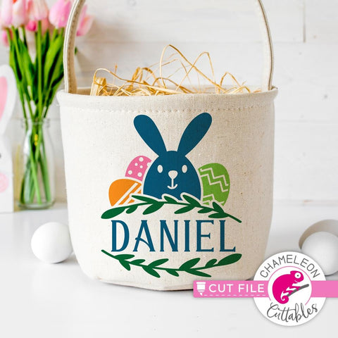 Easter bunny frame for name svg png dxf eps