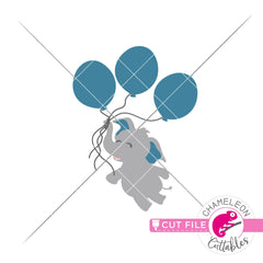 Elephant boy with 3 balloons svg png dxf eps jpeg SVG DXF PNG Cutting File