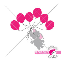 Elephant girl with 6 balloons svg png dxf eps jpeg SVG DXF PNG Cutting File
