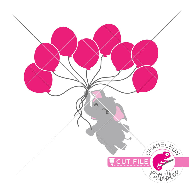 Elephant girl with 8 balloons svg png dxf eps jpeg SVG DXF PNG Cutting File