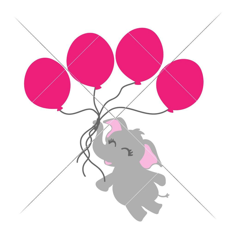 Elephant With 4 Balloons Svg Png Dxf Eps Svg Dxf Png Cutting File