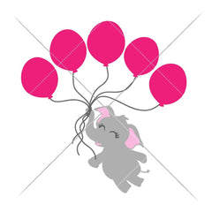 Elephant With 5 Balloons Svg Png Dxf Eps Svg Dxf Png Cutting File