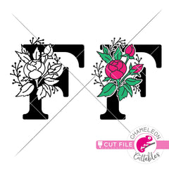 F Floral Monogram Letter with Flowers svg png dxf eps jpeg SVG DXF PNG Cutting File