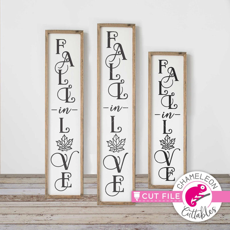 Fall in Love porch sign vertical svg png dxf SVG DXF PNG Cutting File