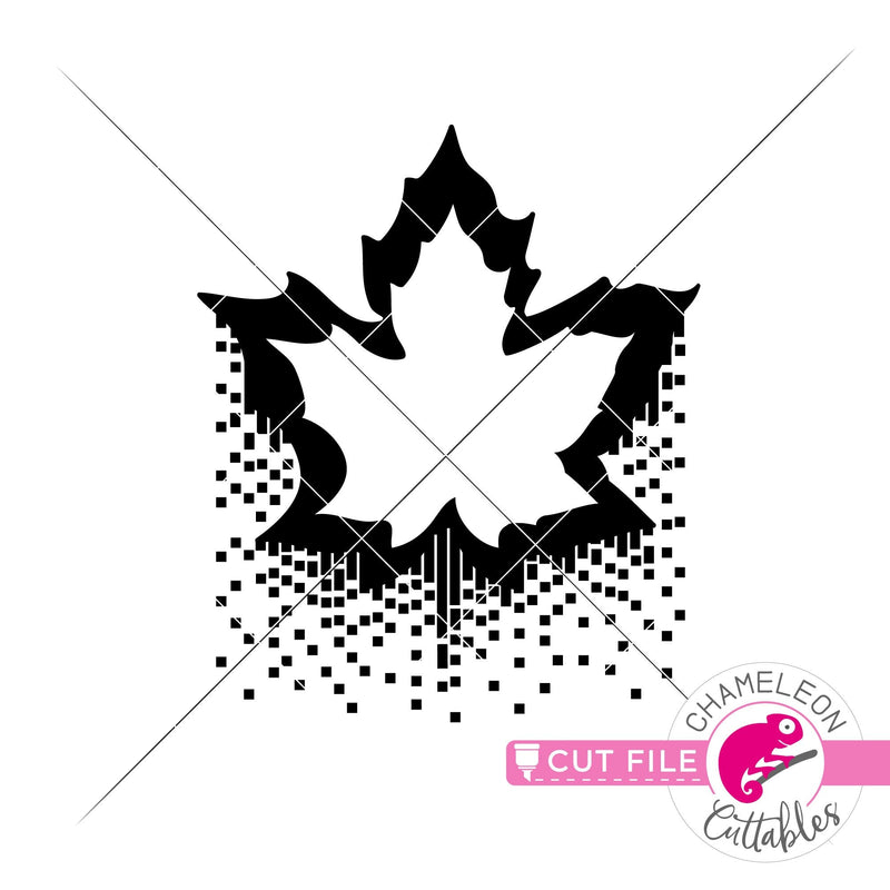 Fall leaf drizzling sparkles svg png dxf eps jpeg SVG DXF PNG Cutting File