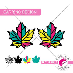 Fall Maple Leaf Earring Template svg png dxf eps SVG DXF PNG Cutting File
