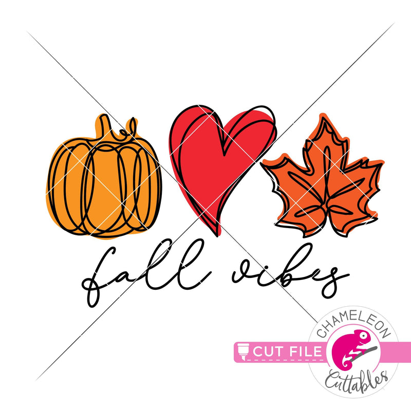 Fall vibes pumpkin heart leaf layered svg png dxf eps jpeg SVG DXF PNG Cutting File