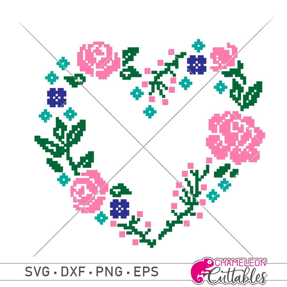Faux embroidery floral Heart svg png dxf eps