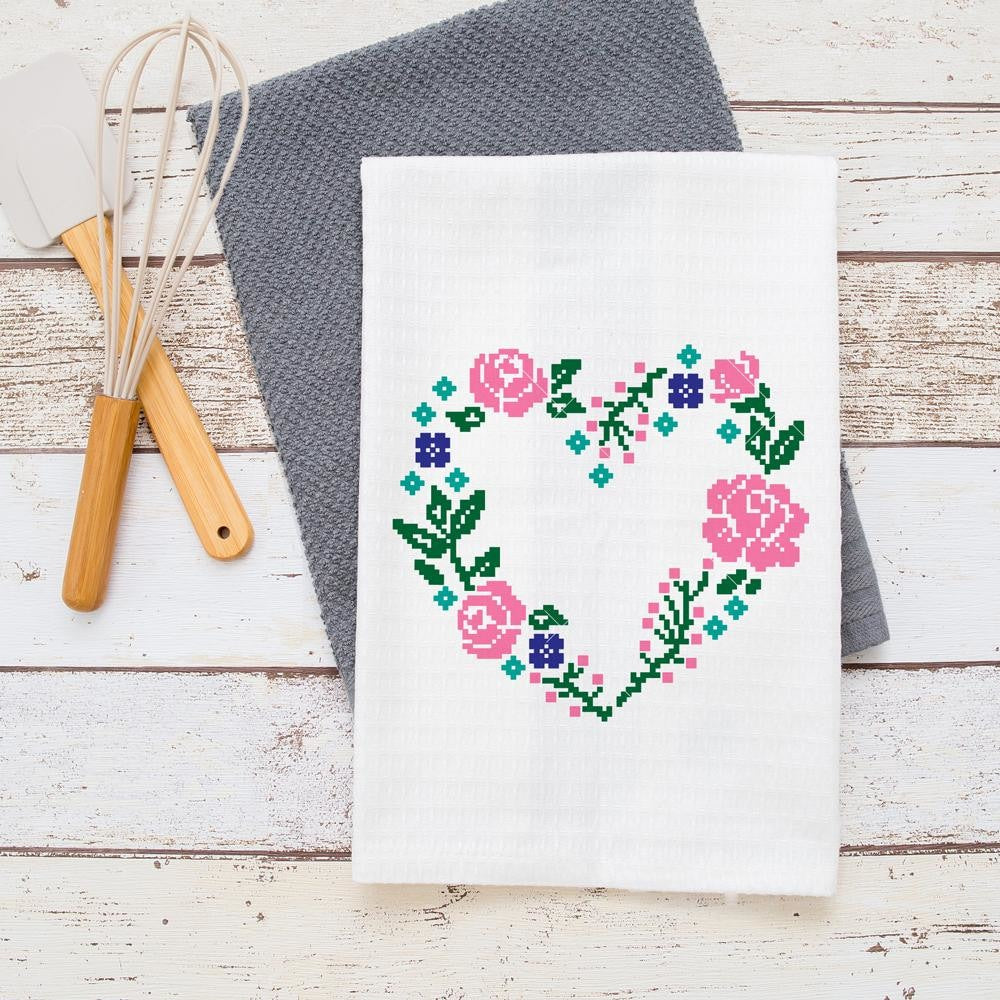 Faux Embroidery Floral Heart Svg Png Dxf Eps Chameleon Cuttables Llc