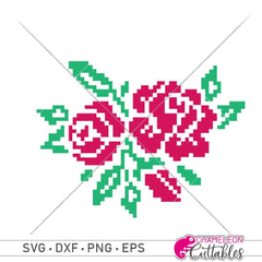 Faux Embroidery Roses Svg Png Dxf Eps Svg Dxf Png Cutting File