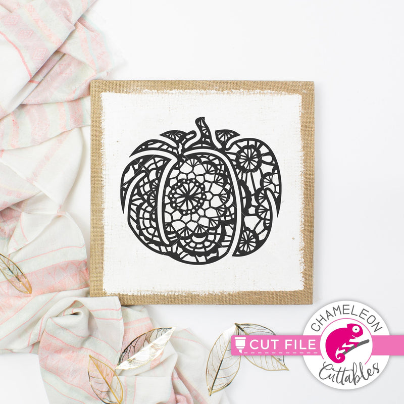 Faux Lace Fall Pumpkin svg png dxf eps jpeg SVG DXF PNG Cutting File