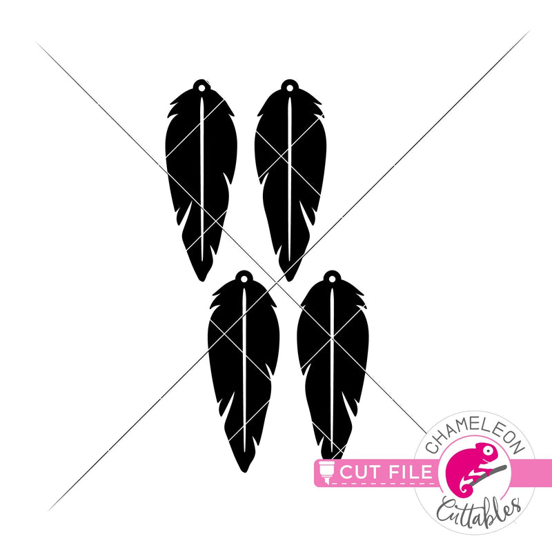 Feather Earring Template svg png dxf eps SVG DXF PNG Cutting File