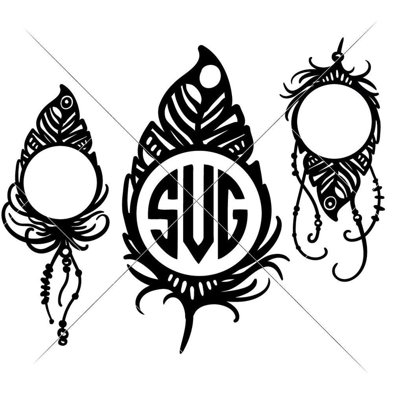 Feathers For Monogram Svg Png Dxf Eps Svg Dxf Png Cutting File
