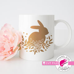 Floral Easter Bunny Svg Png Dxf Eps Svg Dxf Png Cutting File
