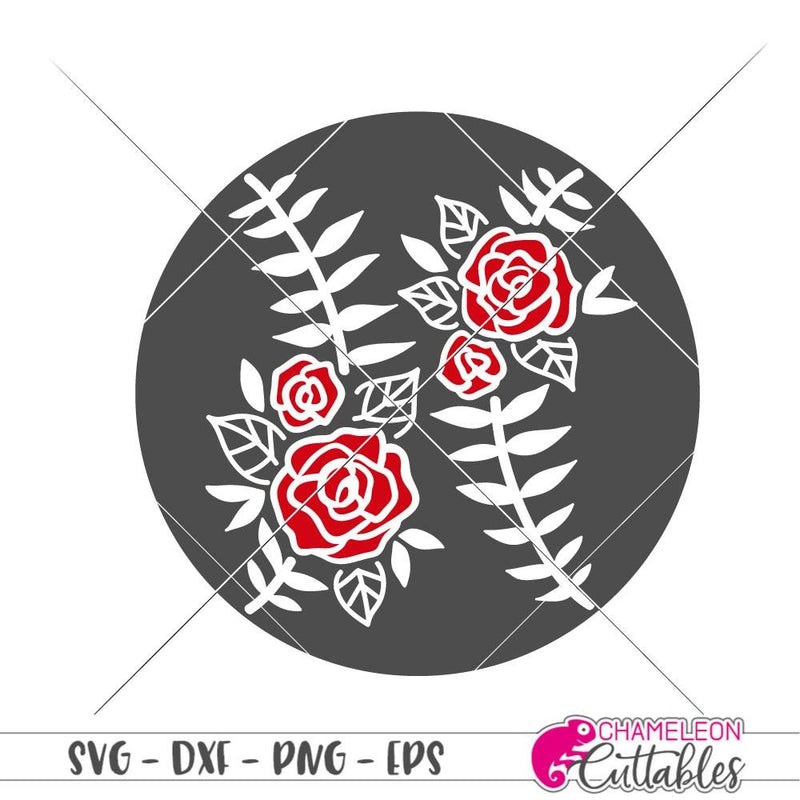 Floral Softball with Roses svg png dxf eps SVG DXF PNG Cutting File