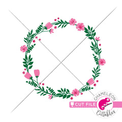 Floral wreath circle with Spring flowers svg png dxf eps jpeg SVG DXF PNG Cutting File