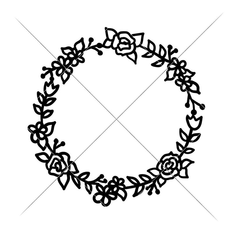 Floral Wreath With Roses And Tulips Svg Png Dxf Eps Svg Dxf Png Cutting File