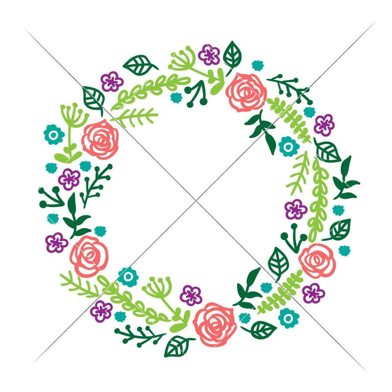 Floral Wreath With Roses Svg Png Dxf Eps Svg Dxf Png Cutting File