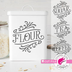 Flour Sugar Tea Coffee vintage canister svg png dxf eps SVG DXF PNG Cutting File