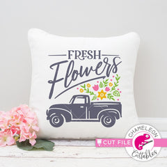Fresh Flowers Vintage Truck Svg Png Dxf Eps Svg Dxf Png Cutting File