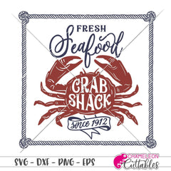 Fresh Seafood Crab Shack square svg png dxf eps SVG DXF PNG Cutting File
