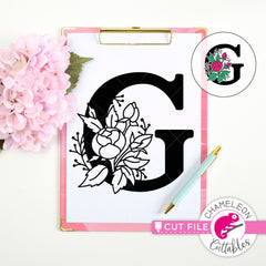 G Floral Monogram Letter with Flowers svg png dxf eps jpeg SVG DXF PNG Cutting File