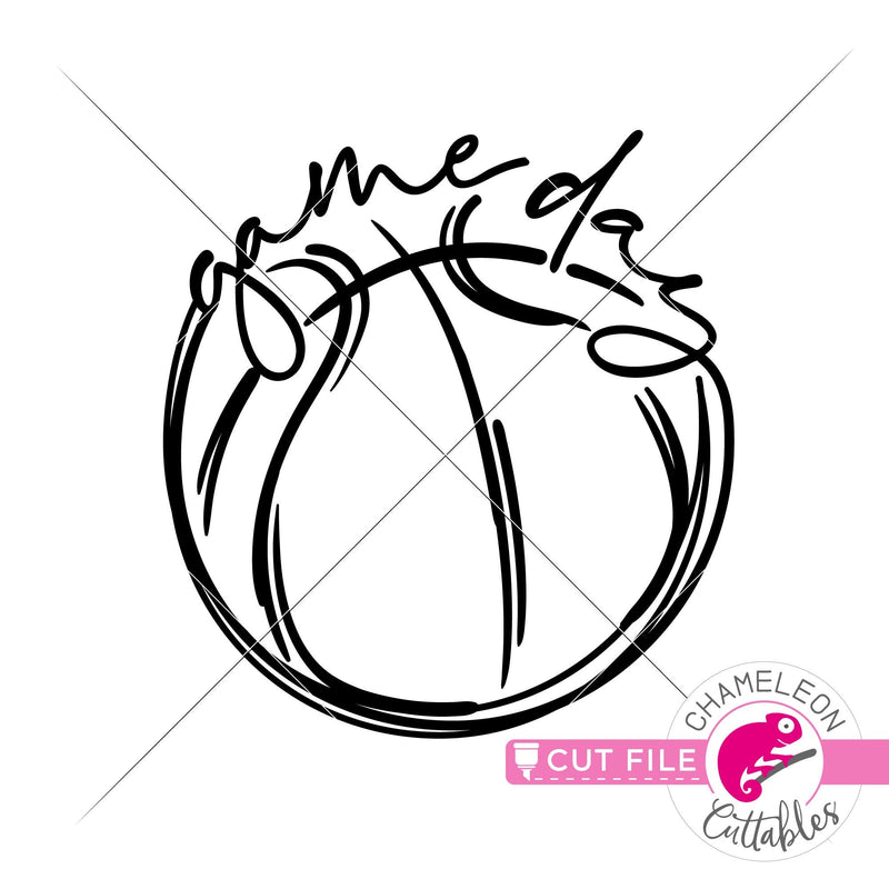 Game Day Basketball Sketch Drawing svg png dxf eps jpeg SVG DXF PNG Cutting File