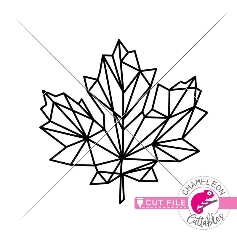 Geometric Fall Maple Leaf svg png dxf eps SVG DXF PNG Cutting File