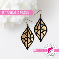 Geometric Leaf A Earring Template svg png dxf eps SVG DXF PNG Cutting File
