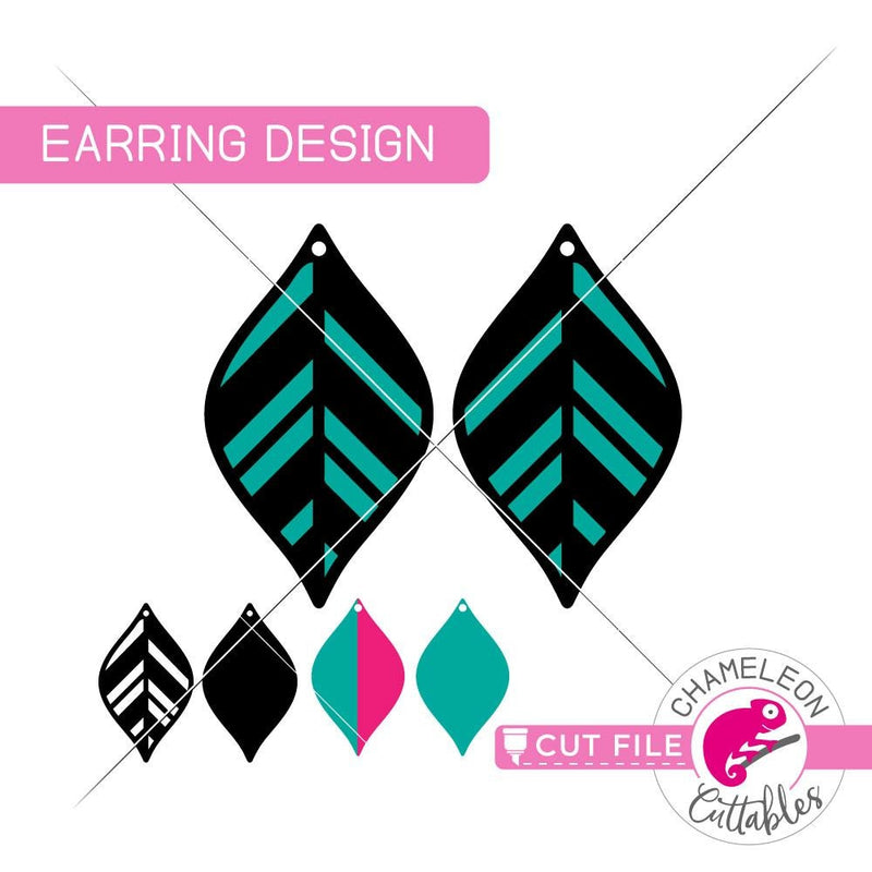 Geometric Leaf B Earring Template svg png dxf eps SVG DXF PNG Cutting File