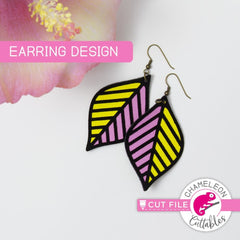 Geometric Leaf Earring Template svg png dxf eps SVG DXF PNG Cutting File