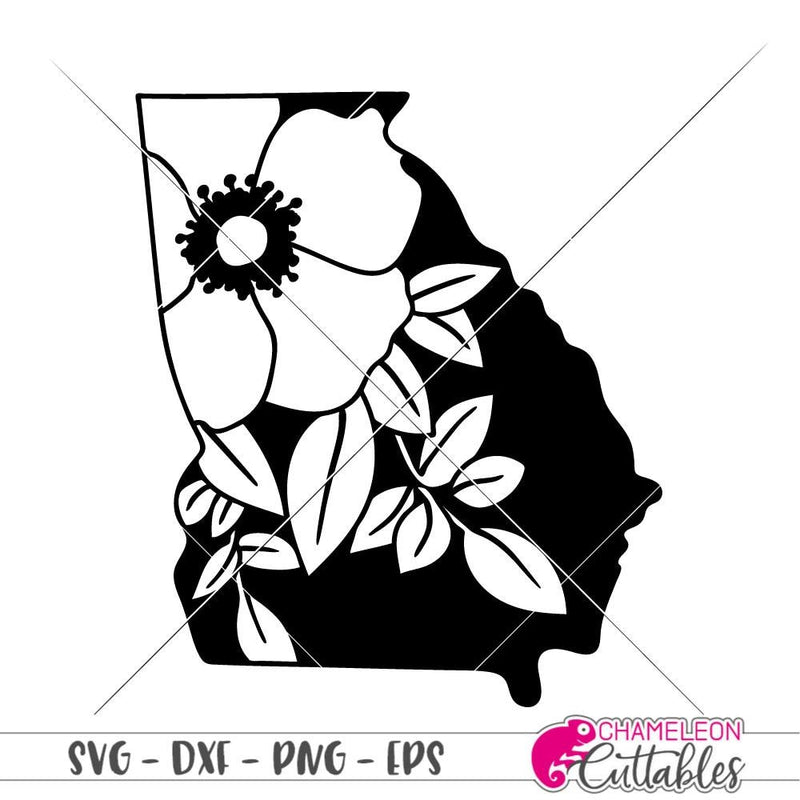 Georgia Cherokee Rose svg png dxf eps SVG DXF PNG Cutting File