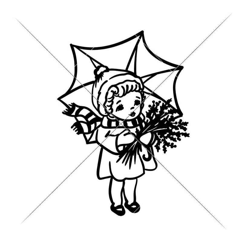Girl With Umbrella Svg Png Dxf Eps Svg Dxf Png Cutting File
