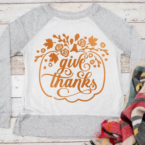 Give Thanks floral Pumpkin svg png dxf eps